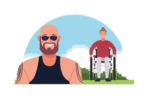 Calvo tatuado hombre y hombre en personajes de silla de ruedas vector