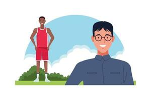 nerd and basketball player characters vector