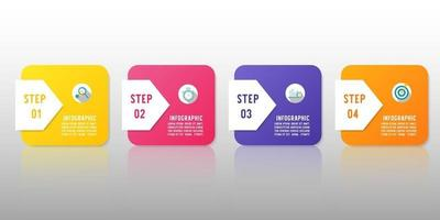 Modern infographic template with four steps for used for workflow layout. vector