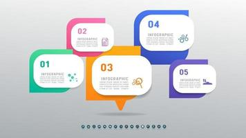 Infographic abstract concept template design with 5 steps options. vector
