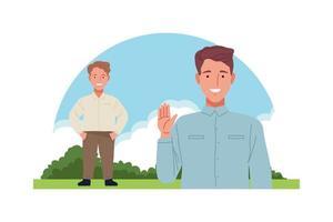 short man and skinny man characters vector