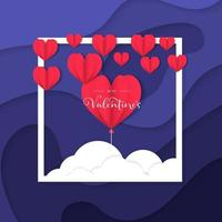 Blue valentine day poster or banner post templates vector