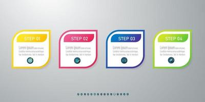 Timeline infographic design with icons 4 steps.