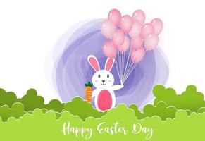Happy Easter background with cute bunny vector
