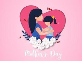 feliz día de la madre diseño dulce tarjeta de felicitación. vector