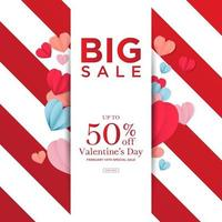 Big sale valentine's day love template vector