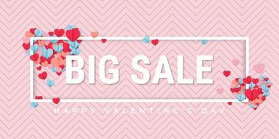 Big sale design banner for valentines day sale vector