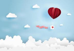Heart air balloon in blue sky vector
