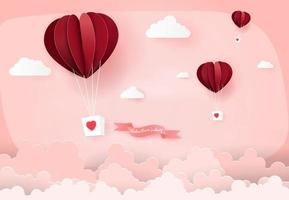 Heart air balloons in pink sky vector