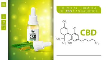 Chemical formula of CBD cannabidiol and CBD oil bottle with pipette. White and green poster for website