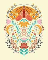 motivos de primavera en estilo de arte popular. Ilustración de vector plano colorido con polilla, flores, elementos florales y luna.