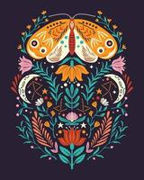 Spring motifs in folk art style. Colorful flat vector illustration with moth, flowers, floral elements and moon.
