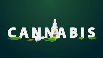Cannabis oil logo, sign, symbol. 3D title decorated with bottle of Medical cbd oil and hemp leaf vector