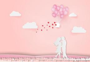 Valentine's day abstract background with young joyful couple vector