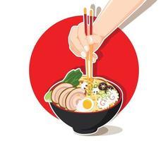 Japanese ramen noodle restaurant design vector