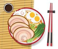 Japanese ramen noodle dish vector