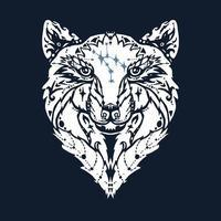 tatuaje de lobo salvaje vector