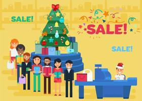 Merry Christmas And New Year In Shop vector