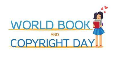 día mundial del libro y los derechos de autor vector