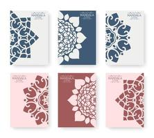 Flat color mandala cover collection vector