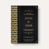 Elegant wedding invitation with stylish ornamental pattern design vector