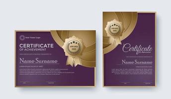 Elegant purple certificate award template set vector