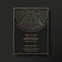 Luxury mandala style wedding invitation vector