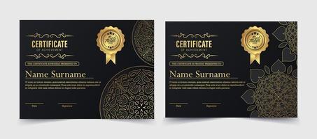 certificado de mandala de lujo vector
