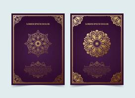 Set of vintage purple background ornament greeting vector