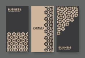 Brown and black abstract floral pattern banner vector