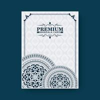 Elegant mandala cover in blue color vector