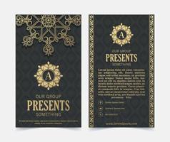 tarjeta de visita de lujo y plantilla de vector de logotipo de adorno vintage. retro elegante florece el diseño del marco ornamental y el patrón de fondo.