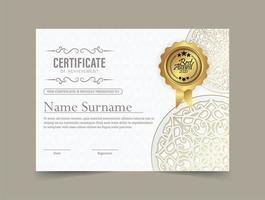 Elegant white mandala certificate vector