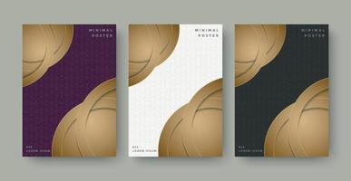 Minimal Cover in Gold. Vector Geometric Abstract Poster Design.