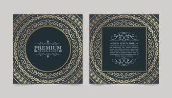 Luxury mandala decorative card in gold color vector