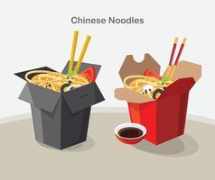 conjunto de diseño de caja de comida china para llevar vector
