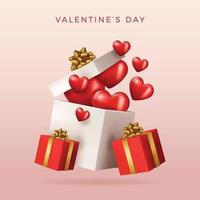 Valentine's day design. Realistic red gifts boxes. Open gift box full of decorative festive object. Holiday banner, web poster, flyer, stylish brochure, greeting card, cover. Romantic background vector