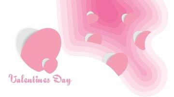 Paper heart on pink wavy background. Paper cut style vector design for valentine's day
