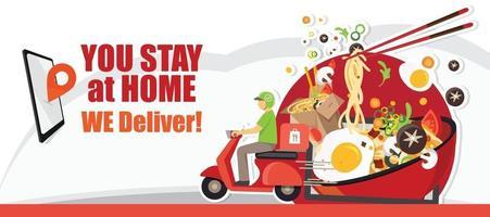 servicio de entrega de alimentos, servicio de entrega de scooter, ilustración vectorial vector