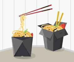 diseño de caja de comida china para llevar vector