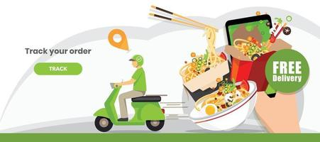 Food delivery service, Scooter delivery service , Vector illustration