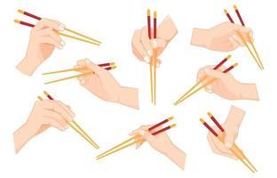 Set of Hand holding chopsticks vector
