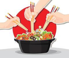 Shabu Shabu and Sukiyaki in hot pot at restaurant vector