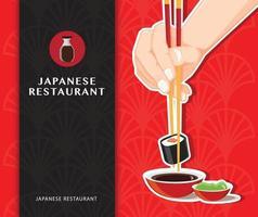 cartel de comida japonesa de sushi vector