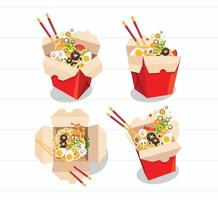 chinese food take away box set vector