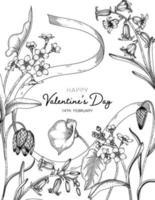 Dibujado a mano fondo floral del día de san valentín. vector
