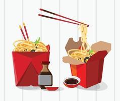 caja de comida china para llevar vector