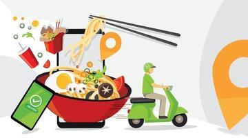 Food delivery service design vector