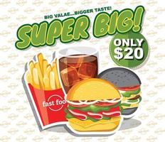 Fast food banner set, tasty set fast food vector