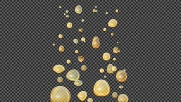 Burbujas de oro de aceite de cannabis, efecto vectorial realista. Gotas de aceite en el agua, efecto de lámpara de lava. vector